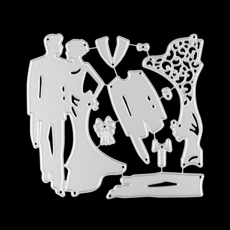 Bride Groom Metal Cutting Dies Wedding Dress Cut Die Mold Shape Carbon Scrapbook Paper Craft Knife Mould Blade Punch Stencils
