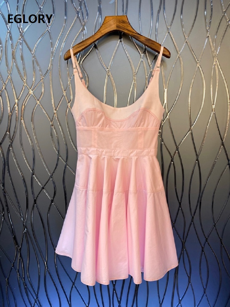 New Korean Fashion <font><b>Dress</b></font> 2020 Summer Casual Ladies Spaghetti Strap Sleeveless Slim Fitted A-Line <font><b>Sexy</b></font> <font><b>Blue</b></font> <font><b>Pink</b></font> <font><b>Dress</b></font> Above Knee image