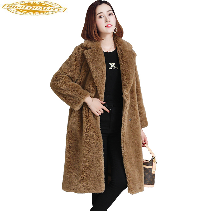 Women Real Wool Fur Coat 2020 Korean Fashion Sheep Shearing Coats Long Thick Warm Winter Female Jacket Plus Size WYQ2104