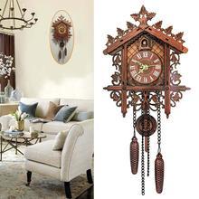 Reloj de cuco pared colgante de casa de árbol de madera Vintage hogar dormitorio Oficina Decoración hecha a mano
