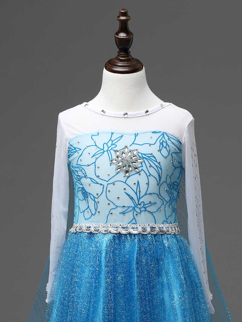 2-10 Tahun Anak Perempuan Musim Panas Elegan Queen Elsa Kostum Natal Fantasi Gadis Putri Bling Crystal Elsa Prom Pesta Ulang Tahun gaun