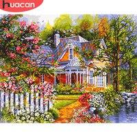 Huacan fotos por número flor casa pintados à mão decoração de casa pintura a óleo por número paisagem desenho da parede arte presente