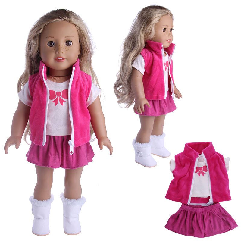 Doll 13 Styles Set=Clothes+Pants/Skirt Fit 18 Inch American&43 Cm Born Baby Doll Accessories Generation Birthday Girl's Toy Gift