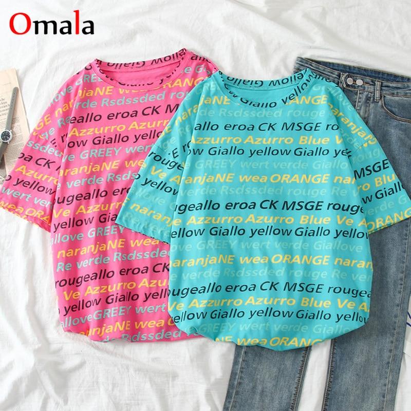 Harajuku Letter Print T Shirts Korean Women Tshirt Fashion Summer Short Sleeve O Neck Causal Ulzzang Tees Tops Oversized T Shirt