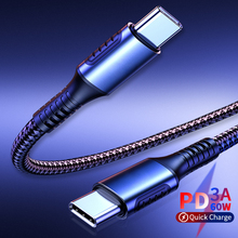 цена на 60W Usb Type C To Type C Fast Charge Data Sync Cable PD Usb Type C Turn USC-C Charging Cable for Samsung Galaxy S20 Note 10 Plus
