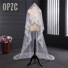 Nova chegada acessórios de casamento estilo coreano apliques rendas 3m * 1.5m catedral véu de casamento borda do laço véu de noiva sem pente