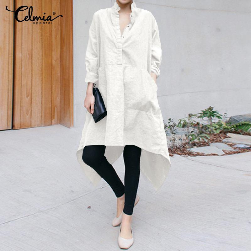 Frauen Sommer Hemd Kleid 2019 Celmia Mode Langarm Taschen Solide Asymmetrische Kleid Plus Größe Damen Elegante Partei Vestido