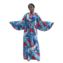 Dashiki 2020 Latest Arrivals African Dresses For Women Palm Leaf Pattern Print Of Shoulder Butterfly Sleeve Fashion Long Dress