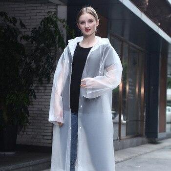 Fashion Men Women Thicken EVA Transparent Raincoat Poncho Portable Lightweight Rain Coat Jacket Travel Waterproof Adult Rainware