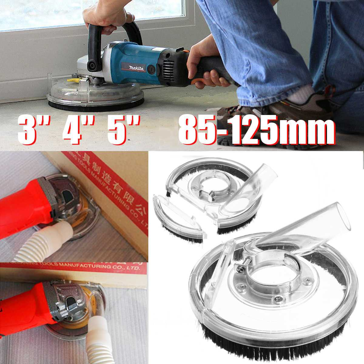 Dust Shroud Kit Dry Grinding Cover Tool For Angle Hand Grinder Clear 80-125mm Power Tool Accessories Vacuum Dust Cover