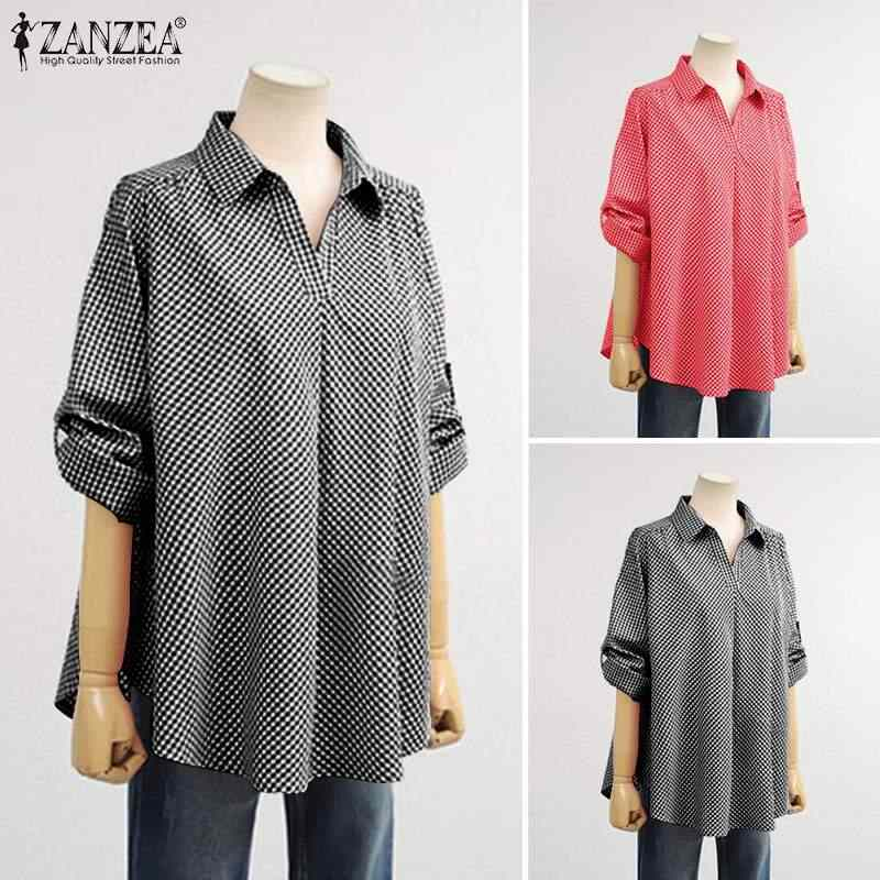 ZANZEA בתוספת גודל נשים משובץ לבדוק חולצה דש צוואר חולצה מקרית Loose כותנה פשתן טוניקת חולצות ארוך שרוול Blusas Femininas 7