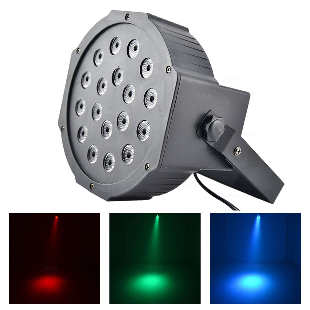 AUCD Mini 18W LEDs RGB Full Color PAR Lights Beam DMX Sound Disco Ball Projector Spotlight DJ Party Show Stage Strobe Lamp Par18