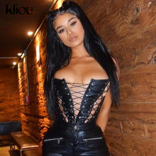 Kliou Hollow Out Bandage Faux Leather PU Tank Top Women 2021 Solid Streetwear Backless Sleeveless Sexy Party Clubwear Outfits