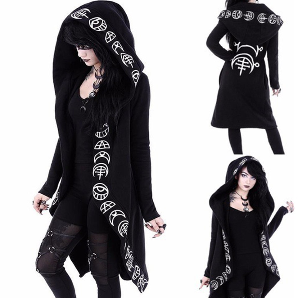 Witchcraft Women Long Mantle Hoodie Punk Sweatshirt Poleron Mujer 2019 Harajuku Dark Goth Clothes Irregular 5xl Plus Size Hoodie