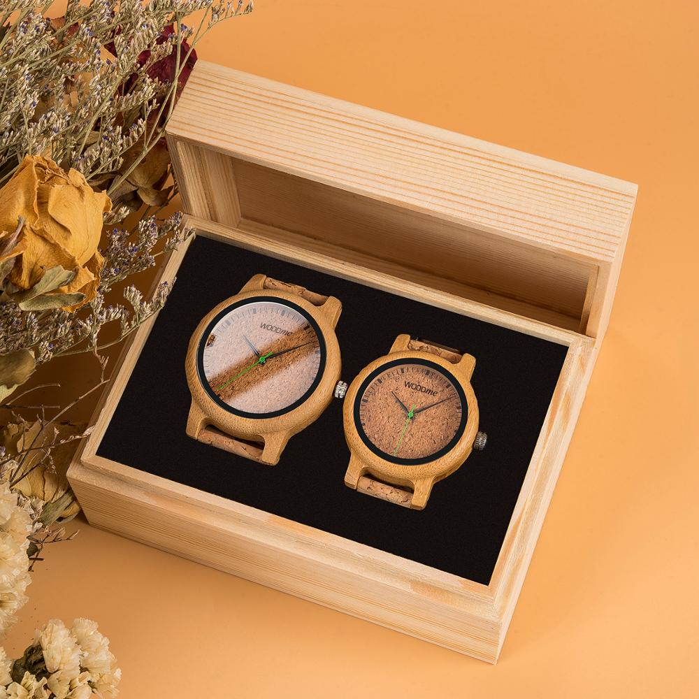 Simple Design Couple Watches Wooden Timepiece Handmade Cork Strap Bamboo Women Watch in Gift Box Accept Custom Drop Shipping