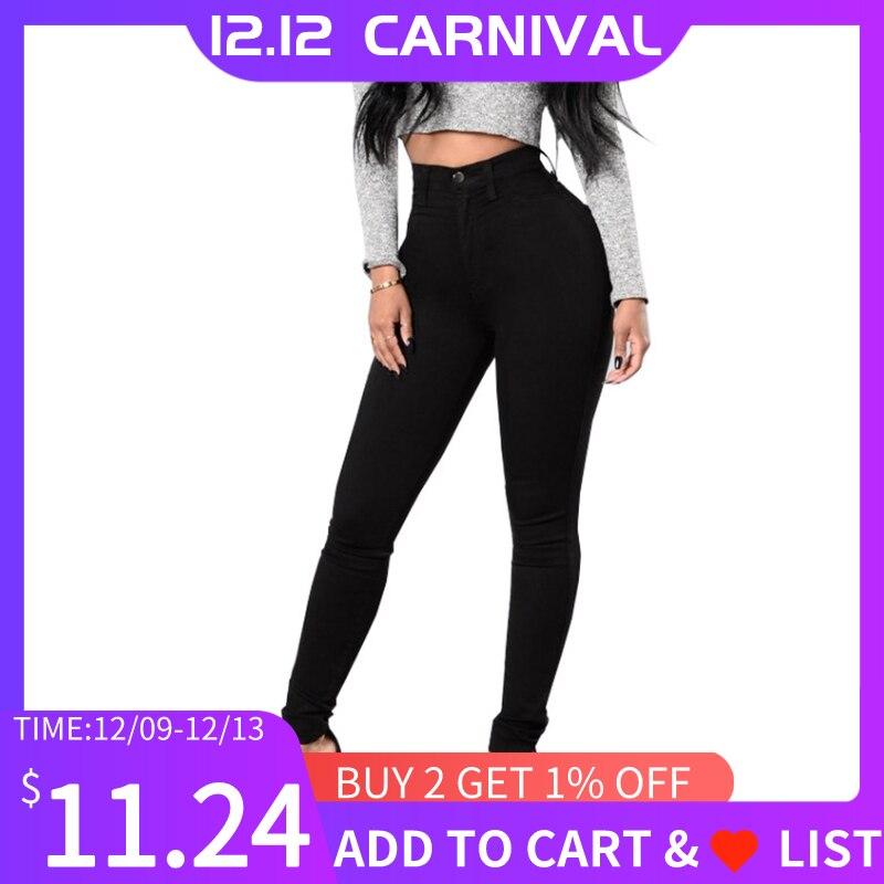 Helisopus High Waist Skinny Jeans Women Casual Elastic Black White Denim Pencil Pants Push Up Trousers Plus Size