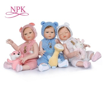 NPK 48CM bebe doll reborn triplets sweet newborn baby doll hand detailed painting pinky look full body silicone