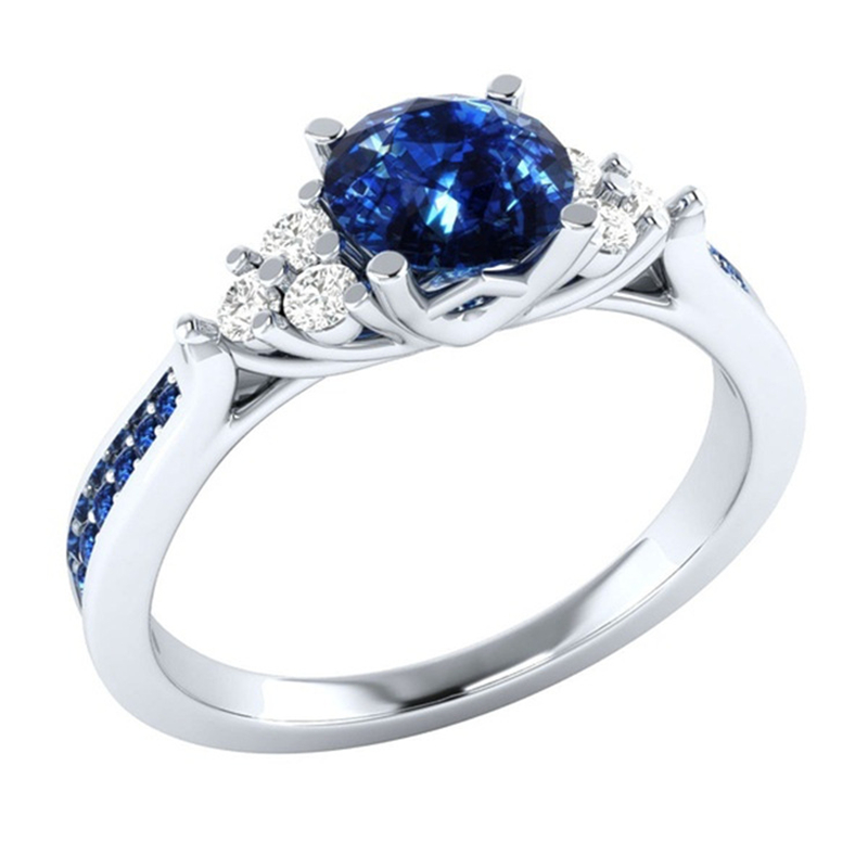 925C Sterling Silver Fashion Women's Inlaid Sapphire Zircon Ring Silver Engagement Jewelry Anillos De Matrimo Sapphire Bizuteria