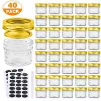 40 Uds tarro de vidrio tarro sellado con tapa tarros de Mason almacenamiento de alimentos lata para mermelada miel dulces botellas de tarro de cuello ancho