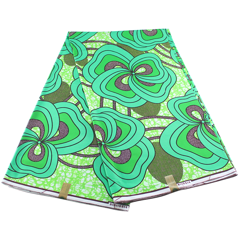 Flower Prints-Fabric Dutch African Wax Ankara Green Veritable Color-Roll Most-Popular