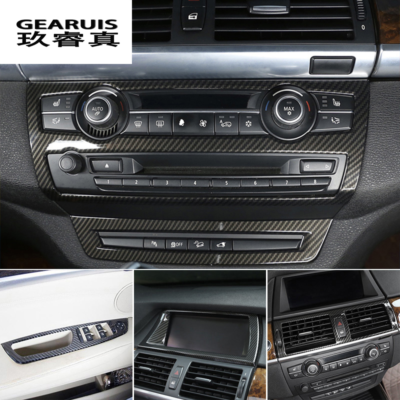Car Styling <font><b>interior</b></font> Buttons panel frame Decoration Covers Stickers <font><b>Trim</b></font> For <font><b>BMW</b></font> <font><b>E70</b></font> E71 E72 X5 X6 SAV Carbon fiber Accessories image