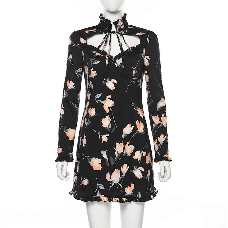 High Waist Mini Dresses Fashion Sexy Flower Print Dress Female Turtleneck Lace Up Hollow Out Bodycon Dress S140