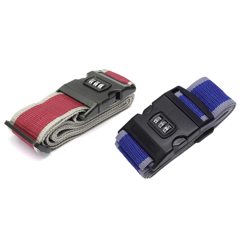 2Pc Safety Belt Belt Lock Combination Travel Luggage Suitcase Band Color:Gray Red & Blue + Grey