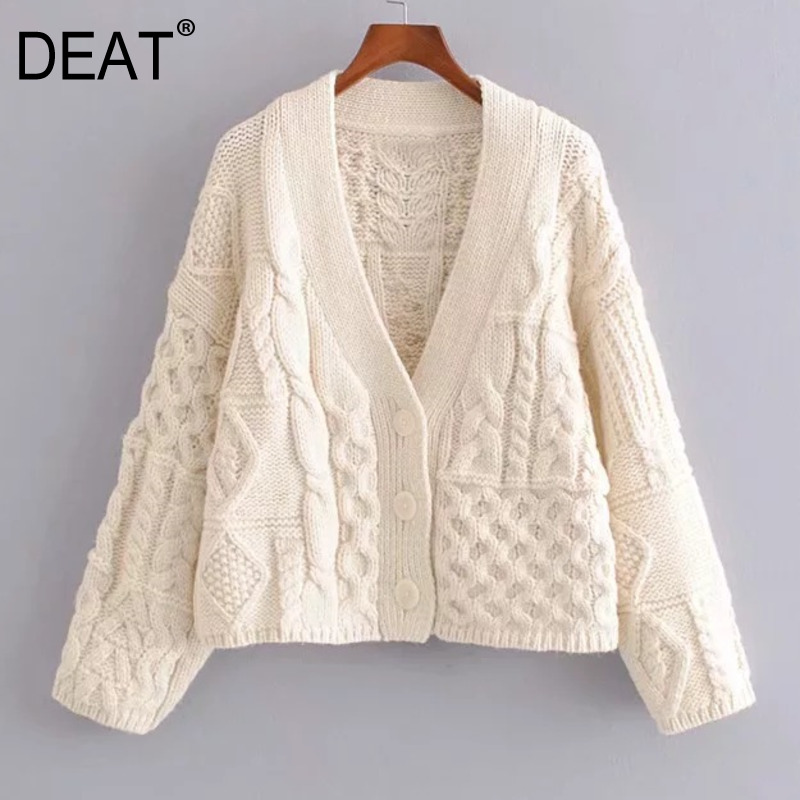 C5284-2517 Women's V-neck Eight-strand Knit Patchwork Cardigan