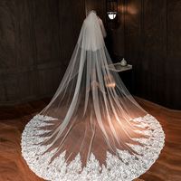 White 3Meters Cathedral Wedding Veil Two Layers Lace Applique Long Bridal Veil Headpiece with Comb