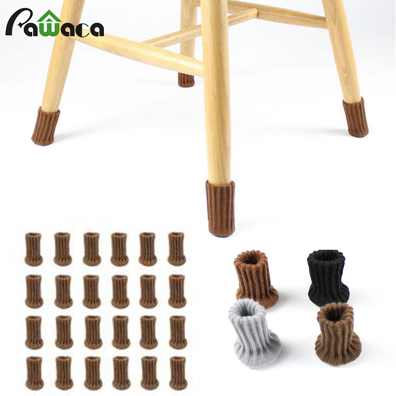 24PCS Chair Legs Socks Elastic Thick Bottom Furniture Booties Floor Protectors Non-slip Table Legs Knitted Chair Feet Covers