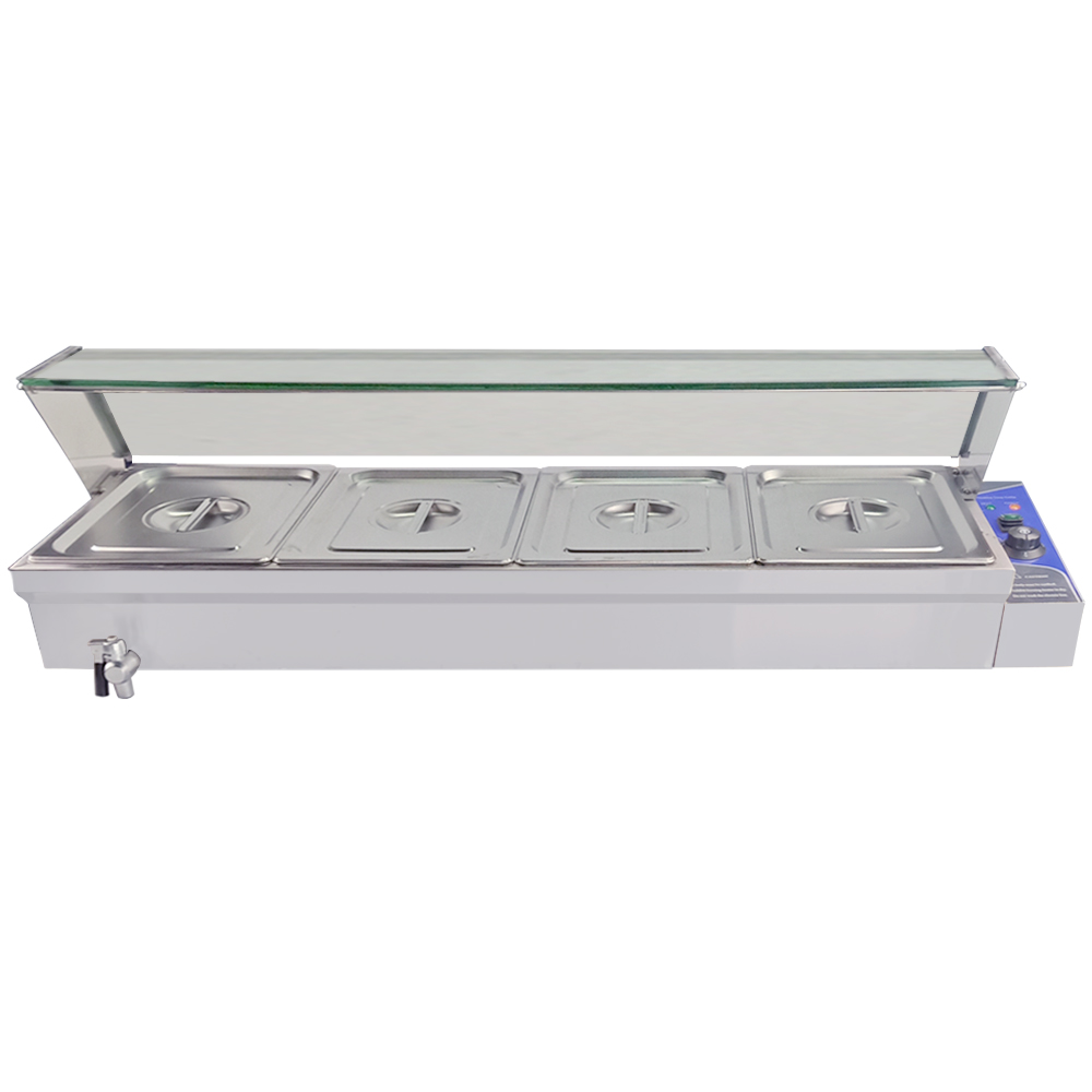Electric Buffet Food Warmer Container Bain Marie Industrial Soup Pool Table-Top 4 Pots For Commercial Restaurant