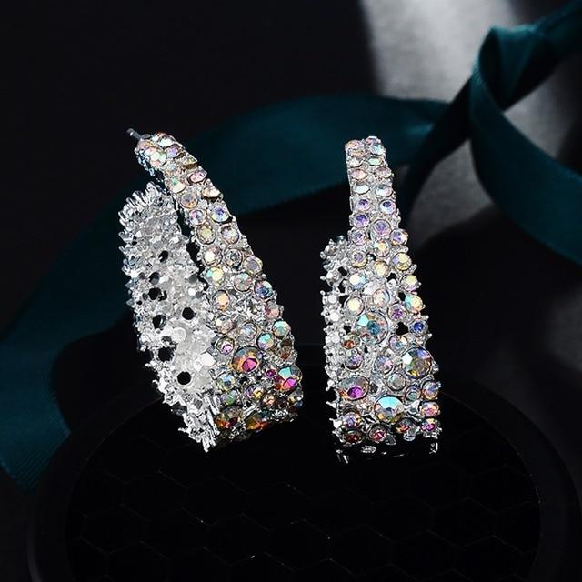 1 paire boucles doreilles en cristal femmes belles boucles doreilles légères brillant brillant strass boucles doreilles bijoux cadeau
