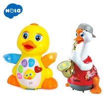 HOLA 8018&6111 Dancing Walking Yellow Duck And Early Education 18 Months + Olds Baby Hip Hop Swing Goose(China)