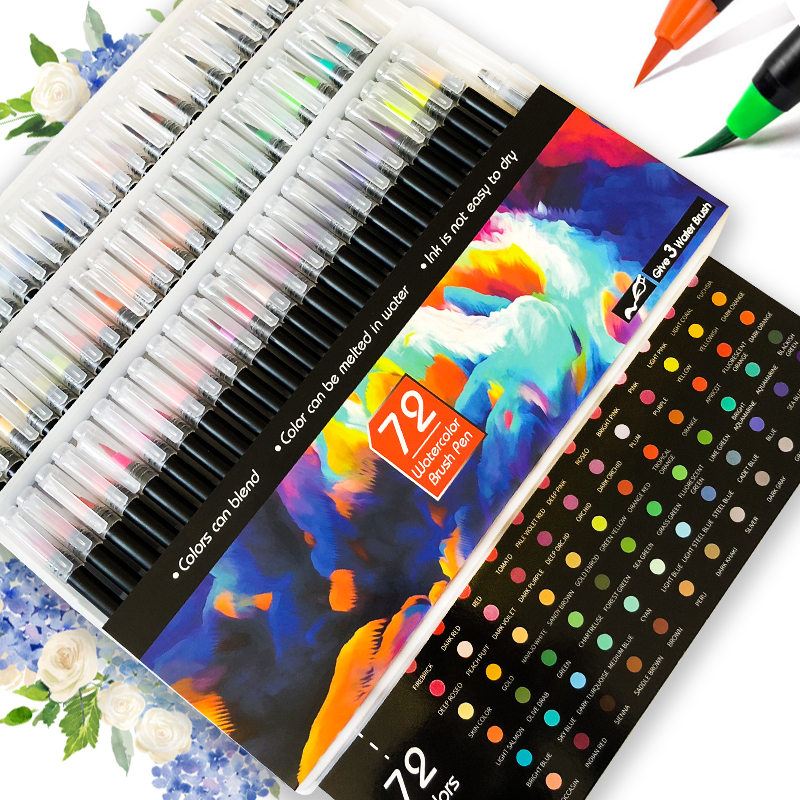12/20/24/48/72PCS Watercolor Brush  Pen Art Marker Felt Painter Calligraphy School Art Supplies Lettering Colouring Pens Set