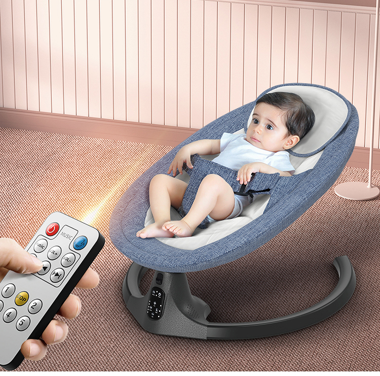 H33957b1a42cc4e14a673991b3168faefv Baby Electric Rocking Chair Bluetooth Remote Artifact Newborn Baby Sleeping Basket with music Kids Swing cardle 0-36month
