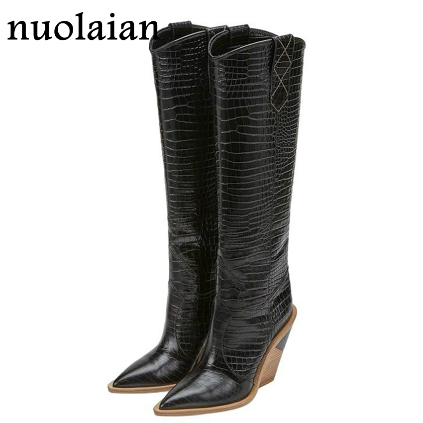 Buy 9.5CM High Heel Shoes Woman Thigh High Boots Black Leather Boot Women Over The Knee Winter Boots Lady Snow Shoe Chaussure for only 56 USD