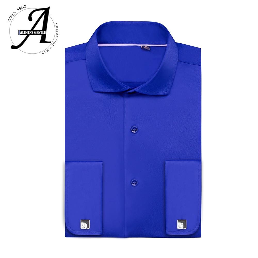 Bamboo Fiber Elastic French Cuff Shirts Non-iron Long Sleeve Dress Shirt Plus Size 9XL Easy Care Formal Shirt For Men