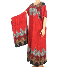 African Dashiki Maxi-Dress Modern Women Cotton for Red Print Short-Sleeve O-Neck Summer