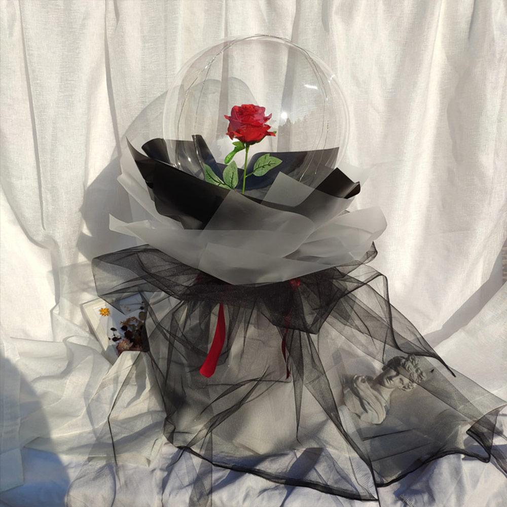 Luminous LED Light Forever Red White Rose Flower Balloon Decor Wedding Gifts SC