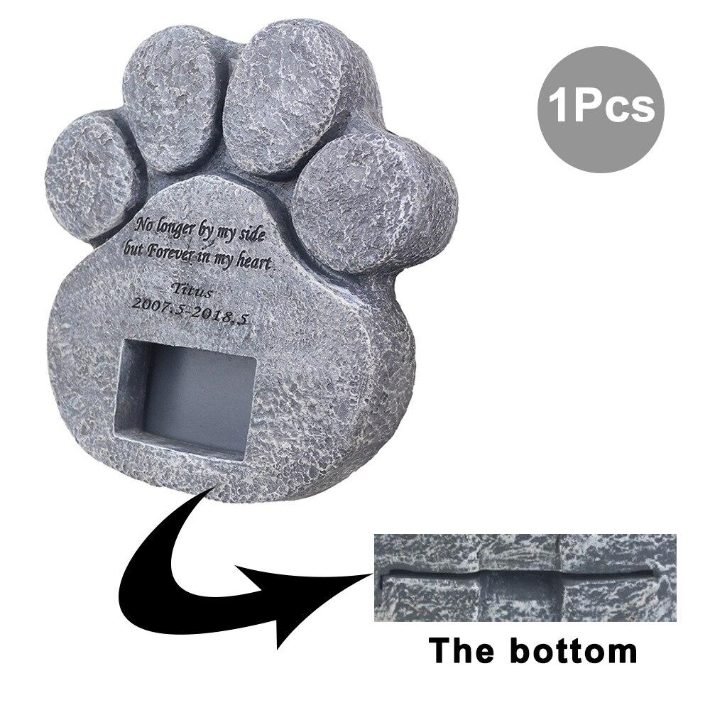 Image 4 - Memorial Tombstone for Pet Keepsake Gravestone Tomb Dog Cat Paw Print Animal Funeral Footprint Shaped Can Put PhotosPet Gravestones   -
