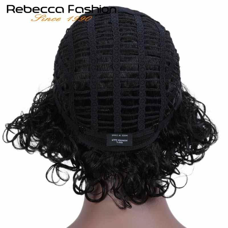 Rebecca короткие влажные и волнистые парики для черных женщин перуанские Remy свободные кудрявые человеческие волосы парик цвет в 1B DX1029 Бесплатная доставка