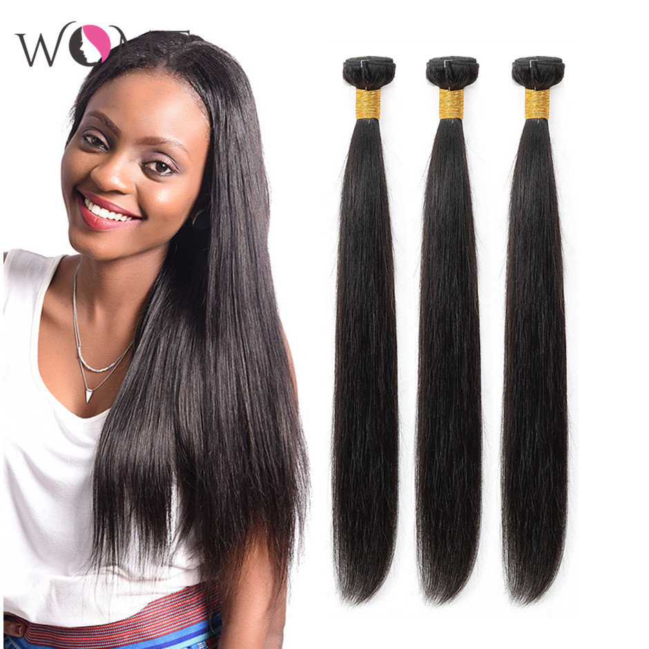 WOME Straight Hair Bundles Brazilian Human Hair Weave Bundles 1/3/4pcs 10-26 Inches Natural Color Non-remy Hair Weave Extensions