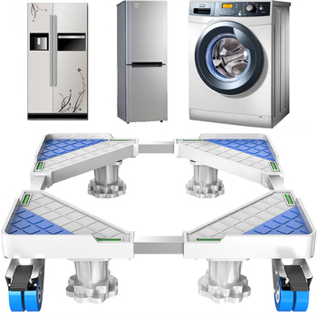 Movable Refrigerator Floor Trolley Fridge Stand Washing Machine Holder 4 Strong Feet Mobile Stand with Brake Wheel 500kg