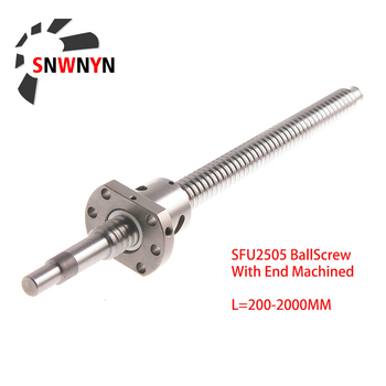 2505 BallScrew SFU2505 300 500 1000 1500 2000mm C7 Ball Screw With 2505 Flange Single Ball Nut BK/BF20 End Machined For CNC Part tbi 1605 c7 600mm ballscrew with sci1605 without flange ball nut end machined for cnc diy kit sci