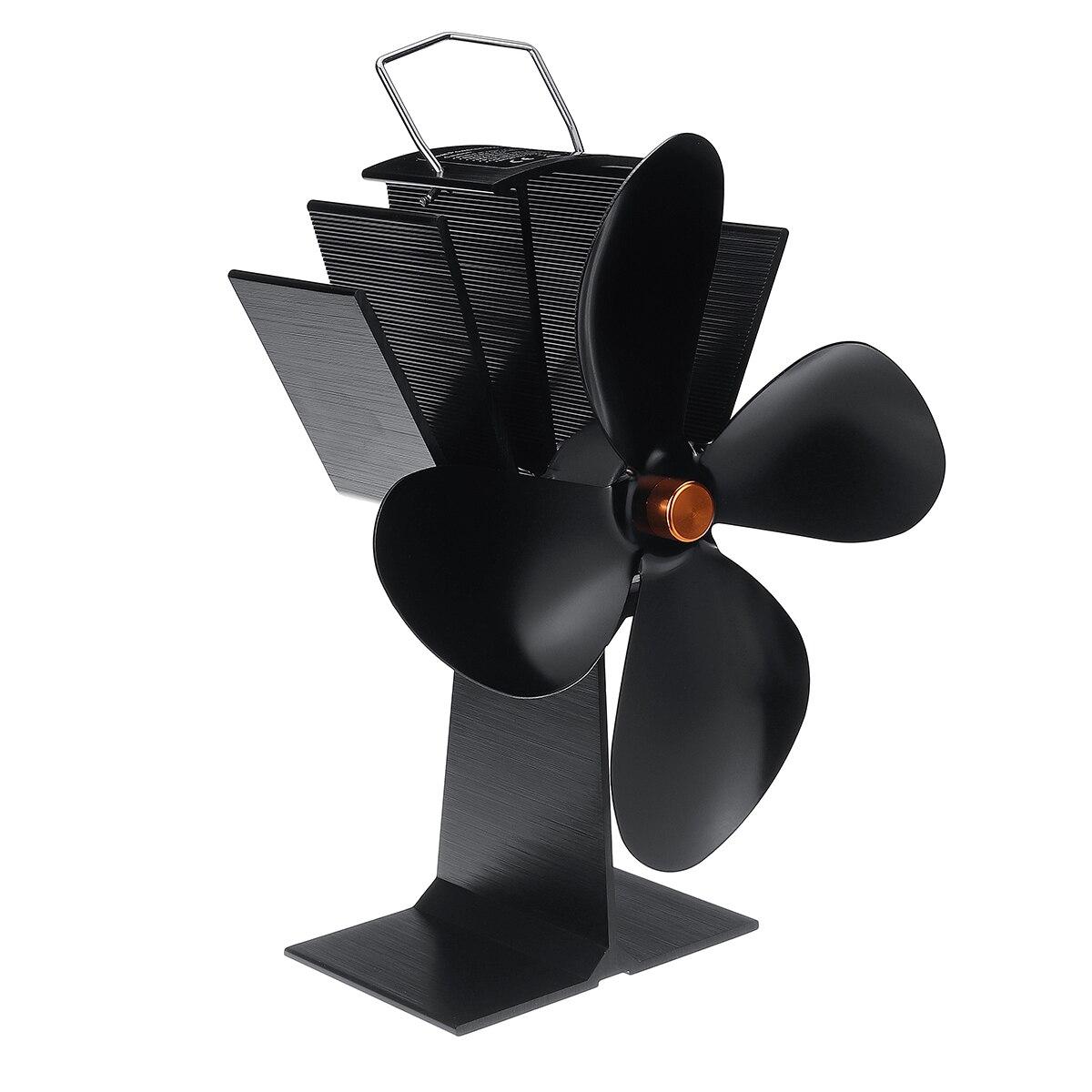 4 Blade Heat Powered Stove Fan Black Fireplace Burner Eco Friendly Quiet Fan Home Fireplace Fan Efficient Heat Distribution