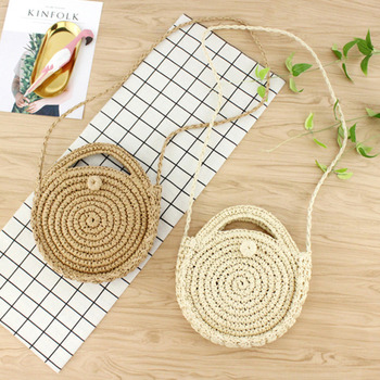 [BXX] Handmade Woven Round Handbag 2020 Spring Summer Vintage Straw Rope Knitted Messenger Bag Lady Bag Summer Beach Totes HK808 2