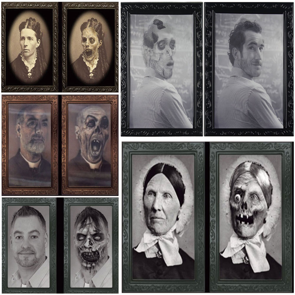 38*25CM Changeable 3D Ghost Photo Frame Horror Portrait Picture Halloween Party Decoration Props Mayitr