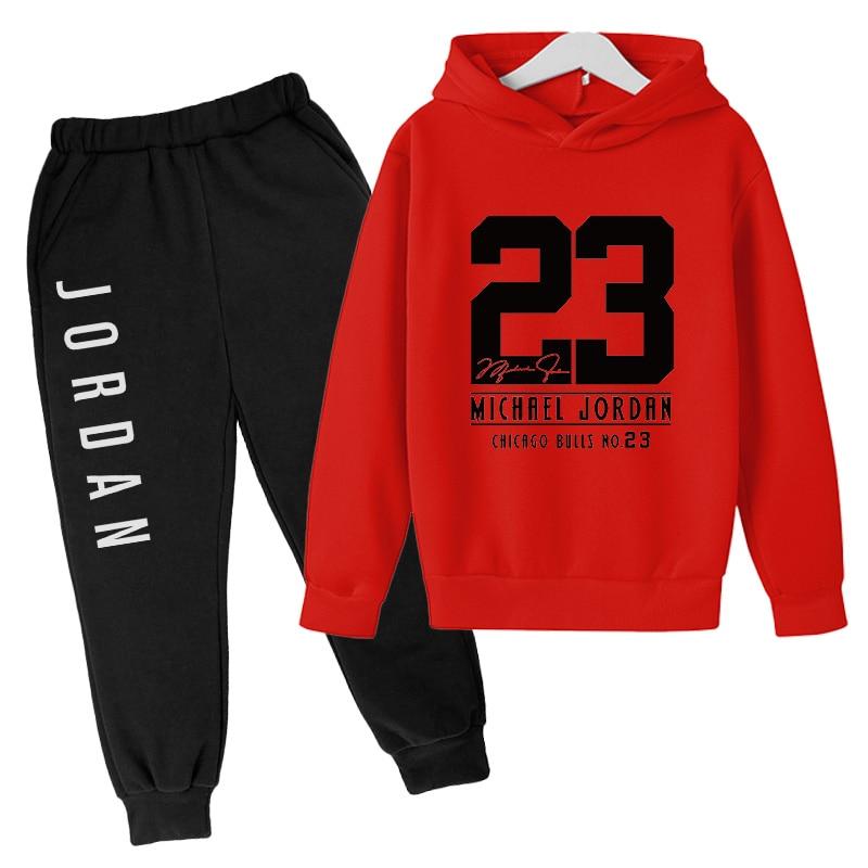 kids Oversized hoodie suit new shirt + pants casual sportswear boy/girl 23 suit printed top + pants gym sweatshirt Long sleeve