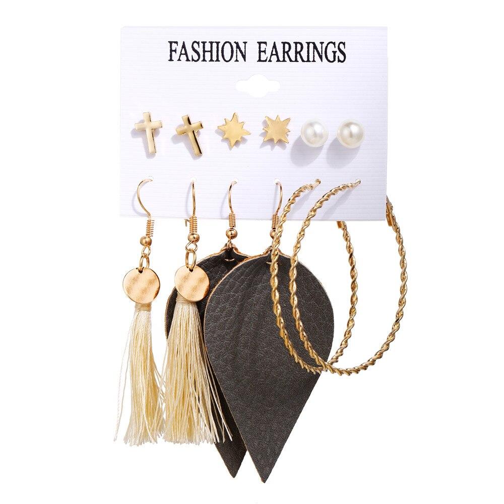 17 км акриловые серьги с кисточками для женщин, богемные серьги, набор больших геометрических висячих сережек Brincos, Женские Ювелирные изделия DIY - Окраска металла: Earrings Set 11
