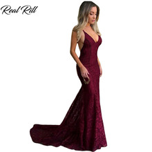 Real Rill Burgundy V-Neck Mermaid Evening Dress 2019 Lace Sweep Train E